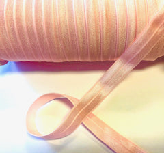 1 Yard -  5/8 inch - PEARL PINK #123 - Fold Over Elastic FOE SOLID 5/8""