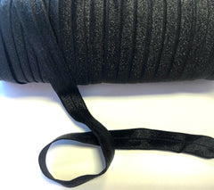 1 Yard -  5/8 inch - BLACK #030 - Fold Over Elastic FOE SOLID 5/8""