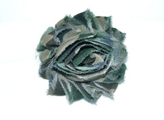 1 Piece -  CAMOUFLAGE Chiffon, Shabby Chic, Frayed Flower, Vintage Look for Headband, Hairclip, Hairbow