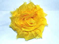 1 Piece -  BRIGHT YELLOW, Chiffon Shabby Chic, Frayed Flower, Vintage Look for Headband, Hairclip, Hairbow