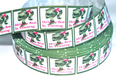 1 Yard 1 inch  - Military Brat in Training  -   Printed Grosgrain Ribbon