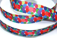 1 Yard 1 inch BALLOONS All Over  -  Printed Grosgrain Ribbon