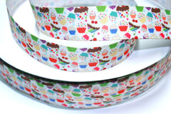 1 Yard 1 inch Cupcakes All Over  -  Printed Grosgrain Ribbon
