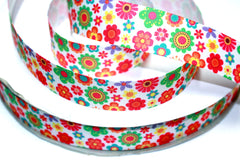1 Yard 1 inch LITTLE FLOWERS All Over -  Printed Grosgrain Ribbon
