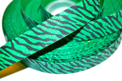 1 Yard 7/8 inch GLITTER Black Zebra on GREEN  Printed Grosgrain Ribbon