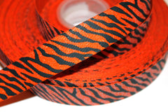 1 Yard 7/8 inch GLITTER Black Zebra on Orange - Halloween -  Printed Grosgrain Ribbon