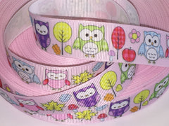 7/8 inch  - colorful owl on pink  - Cute Owl Design  -  Printed Grosgrain Ribbon