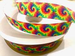 1 Yard 7/8 inch Tie Dye Classic Colors TRENDY - Printed Grosgrain Ribbon