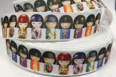 1 yard  1 inch  CUTE DOLL Fashion Diva On White     -  Printed Grosgrain Ribbon