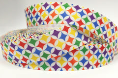 1 Yard 1 inch COLORFUL Pattern: purple, yellow, blue, orange, green  -  Printed Grosgrain Ribbon
