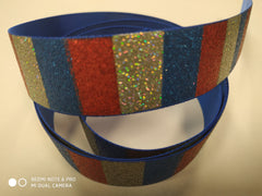 1 Yard 1 inch 4th of July glitter red blue and silver Printed Grosgrain Ribbon