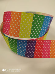 1 yard 1.5 inch  dots white on colorful 1 1/2 Printed Grosgrain Ribbon 11/2