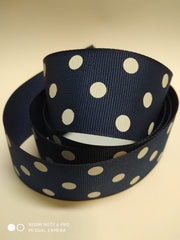 1 yard  1.5 inch-Dots white on navy blue   -  Printed Grosgrain Ribbon 1 1/2