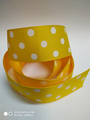 1 yard  1.5 inch-Dots white on yellow  -  Printed Grosgrain Ribbon 1 1/2
