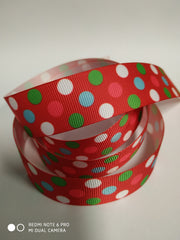 1 Yard 1 inch  -polka dots colors on red  - Printed Grosgrain Ribbon