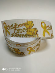 1 Yard 7/8 inch  - CHILDHOOD CANCER AWARENESS  -  Printed Grosgrain Ribbon