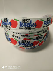 "1 Yard 7/8 inch BEST TEACHER EVER 7/8"" Back to School Teachers white Apple - Printed Grosgrain Ribbon for Hair Bow"