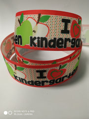"1 Yard 1.5"" inch I Love Kindergarten Apple - Back to School Printed Grosgrain Ribbon for Hair Cheer Bow"