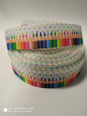 1 Yard 7/8 inch Colorful Pencils on White - PENCILS - BACK TO SCHOOL  - Printed Grosgrain Ribbon