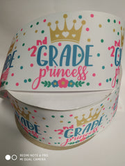"1 Yard 3 inch 2nd GRADE  Back to School Second Grader 3""  - Printed Grosgrain Ribbon for Hair Bow"