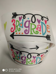 "1 Yard 3 inch 3rd GRADE  Come Back to School Third Grader 3""  - Printed Grosgrain Ribbon for Hair Bow"