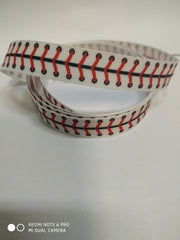 1 Yard 5/8 inch RED AND BLACK SOFTBALL LACES ON WHITE -  Printed Grosgrain Ribbon