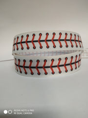 1 Yard 7/8 inch RED AND BLACK SOFTBALL LACES ON WHITE  -  Printed Grosgrain Ribbon