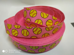 1 yard 7/8 inch Yellow Baseball / Softball on PINK - SPORTS Printed Grosgrain Ribbon for Hair Bow