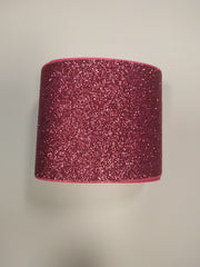 1 Yard - 3 inch Hot Pink Glitter Super Sparkle Grosgrain Ribbon for 3 inch Cheer Hair Bow - Back of Ribbon is Hot Pink Grosgrain 3""