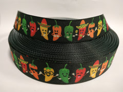 "7/8 inch Chili Peppers Jalapenos Cool Food Chile Dancing 7/8"" - Printed Grosgrain Ribbon for Hair Bow"