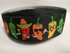 1.5 inch Chili Peppers Jalapenos Cool Food Chile Dancing 1 1/2 - Printed Grosgrain Ribbon for Hair Bow -1 1/2