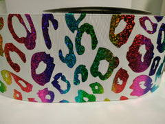 1 Yard - 3 inch metallic Hologram holographic Animal print leopard cheetah colorful printed Grosgrain ribbon 3