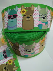 "1 yard 3 inch Girly LLAMA 3"" Back to School Llamas on White with Pink and Lime Green - Printed Grosgrain Ribbon for Hair Bow"