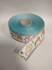 1 Yard 1.5 inch School Supplies - Back to SCHOOL  -  Printed Grosgrain Ribbon