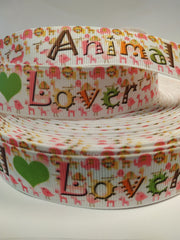 1 yard 7/8 inch - Animal Lover 7/8 -Animal printed Grosgrain Ribbon