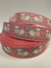 1 yard 7/8 inch CUTEST Little Lamb / Sheep on light pink - Printed Grosgrain Ribbon for Hair Bow