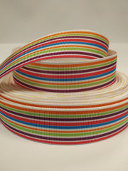7/8 inch Horizontal Stripes  colorful -  Printed Grosgrain Ribbon