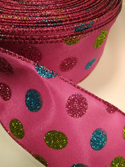 1 Yard 2.5 inch - WIRED -PINK BLUE GREEN POLKA DOTS ON HOT PINK - HOLIDAY - WREATH -  2 1/2 INCH WIDTH RIBBON