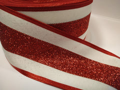 1 Yard 2.5 inch - WIRED - CHRISTMAS RED GLITTER STRIPES - HOLIDAY - WREATH -  2 1/2 INCH WIDTH RIBBON
