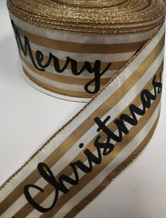 1 Yard 2.5 inch - WIRED - CHRISTMAS gold and ivory STRIPES - HOLIDAY - WREATH -  2 1/2 INCH WIDTH RIBBON