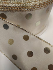 1 Yard 2.5 inch - WIRED -  gold POLKA DOTS ON ivory - CHRISTMAS - VALENTINE'S DAY - HOLIDAY - WREATH -  2 1/2 INCH WIDTH
