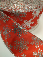 1 Yard 2.5 inch - WIRED - SILVER SNOWFLAKES ON RED RIBBON WINTER   - CHRISTMAS - HOLIDAY  - WREATH -  2 1/2 INCH WIDTH RIBBON