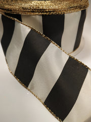 1 Yard 2.5 inch - WIRED - black and ivory VERTICAL STRIPES - HOLIDAY - WREATH -  2 1/2 INCH WIDTH  RIBBON