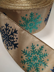 1 Yard 2.5 inch - WIRED - NAVY AND AGUA SNOWFLAKES ON GOLD RIBBON WINTER   - CHRISTMAS - HOLIDAY  - WREATH -  2 1/2 INCH WIDTH RIBBON