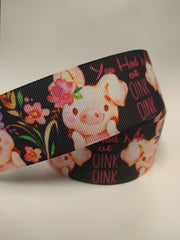 1 Yard 1.5 inch PIGGY Pig Pigs You Had Me at OINK OINK Cute Printed Grosgrain Ribbon Cheer Hair Bow - 1/2""