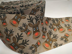 1 yard 3 inch Reindeer Cuties on Xmas Christmas Holiday  - Printed Grosgrain Ribbon 3