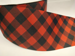 Yard 3 inch RED AND BLACK  DIAMOND PATTERN - ARGYLE   -  Printed Grosgrain Ribbon 3