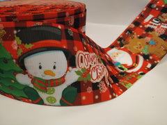 1 Yard 3 inch  Christmas Santa Claus Snowman Reindeer  Printed Grosgrain Ribbon Cheer Hair Bow -3