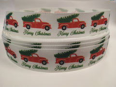 7/8 inch - CHRISTMAS  - Christmas tree in truck- Printed Grosgrain Ribbon for Hair Bow 7/8