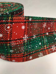 1 Yard 3 inch christmas plaid red ,green cloth fabric like ribbon. 3